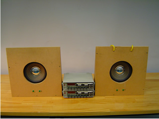 The apparatus for sound interference and beats. Connect separate signal generators to each speaker for beats, one sig gen to both speakers for interference.