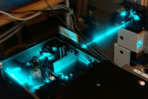 A laser in operation in the Raman Spectroscopy lab at Victoria University