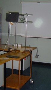 The apparatus is mounted on a trolley.